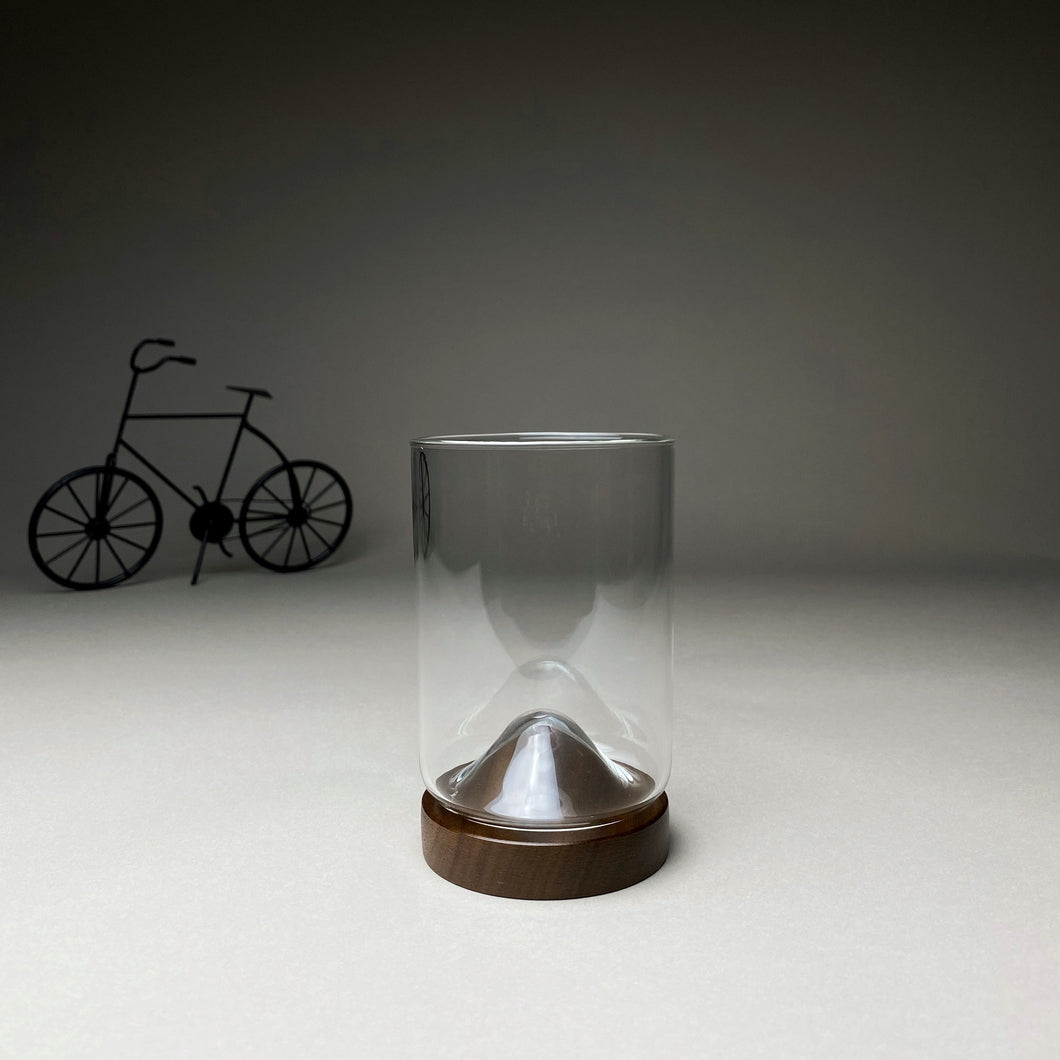 Glass with Dark Wooden Stand