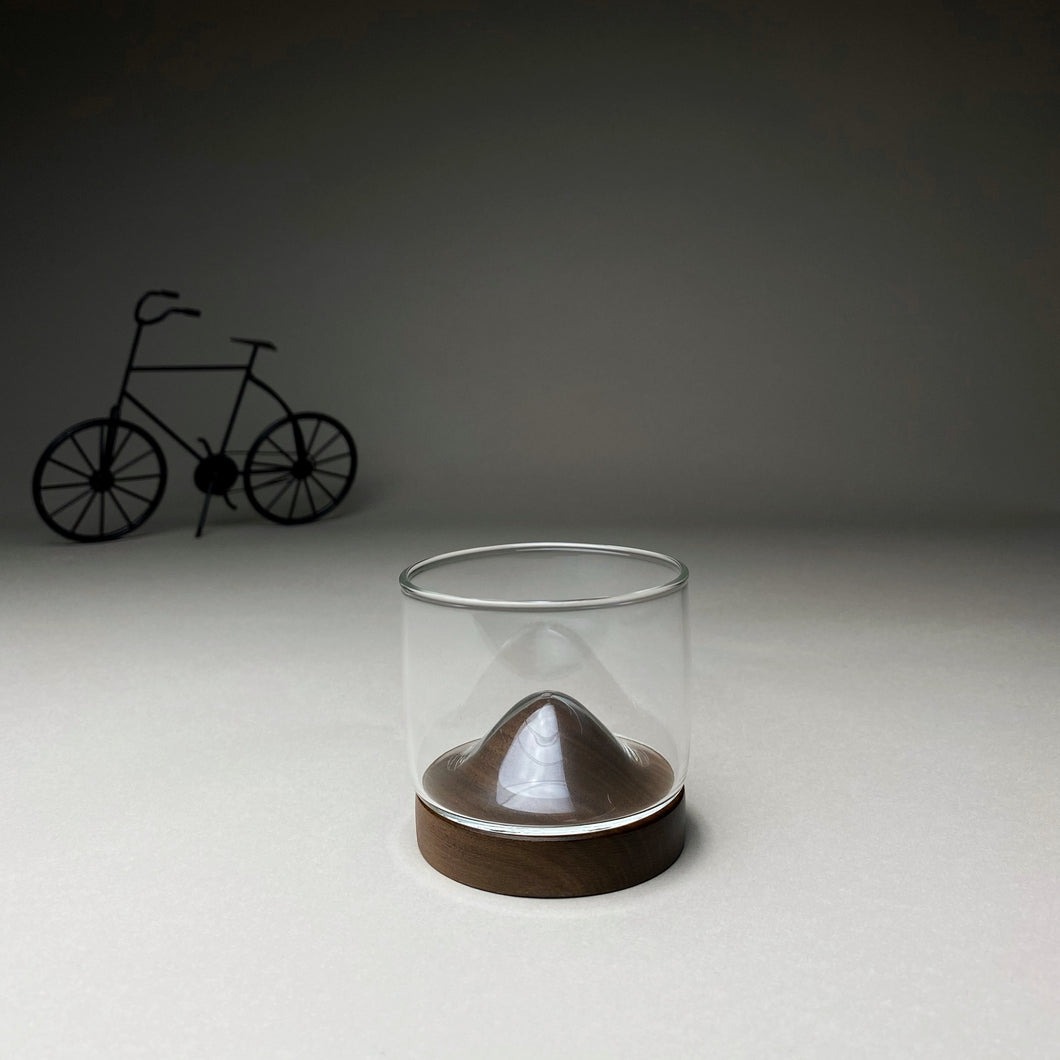 Espresso Glass with Dark Wooden Stand