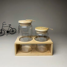 Load image into Gallery viewer, Two Sizes Glass Jars with Wooden Lid and Stand