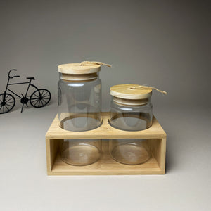 Two Sizes Glass Jars with Wooden Lid and Stand