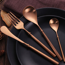 Load image into Gallery viewer, Portuguese Rose Gold Matte Cutlery Set