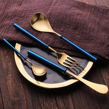 Load image into Gallery viewer, Portuguese Blue & Gold Matte Cutlery Set