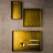 Load image into Gallery viewer, Golden Matte Trays Set of Three