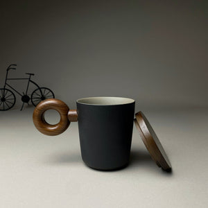 Matte Black With Circle Handle Mug