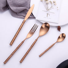 Load image into Gallery viewer, Bamboo Rose Gold Matte Cutlery Set