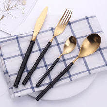 Load image into Gallery viewer, Bamboo Black & Gold Matte Cutlery Set