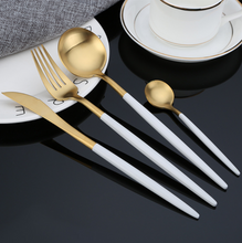 Load image into Gallery viewer, White & Gold Matte Cutlery Set