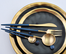 Load image into Gallery viewer, Blue & Gold Matte Cutlery Set
