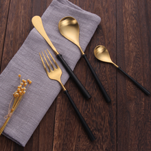 Load image into Gallery viewer, Portuguese Black & Gold Matte Cutlery Set