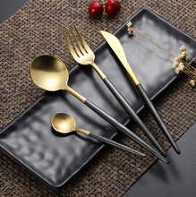 Load image into Gallery viewer, Black & Gold Matte Cutlery Set