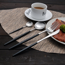 Load image into Gallery viewer, Black & Silver Matte Cutlery Set
