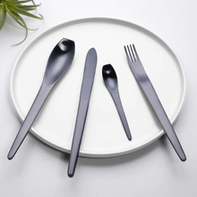 Load image into Gallery viewer, Japanese Style Black Matte Cutlery Set