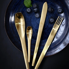 Load image into Gallery viewer, Japanese Style Gold Matte Cutlery Set