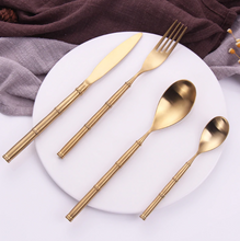 Load image into Gallery viewer, Bamboo Gold Matte Cutlery Set