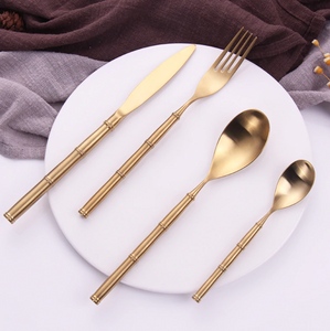 Bamboo Gold Matte Cutlery Set
