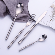 Load image into Gallery viewer, Bamboo Silver Cutlery Set