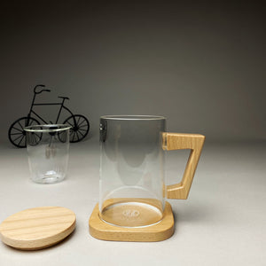 Glass Mug with Wooden Stand & Lid
