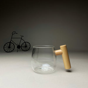 Inflated Glass Mug with Wooden Stand & Lid