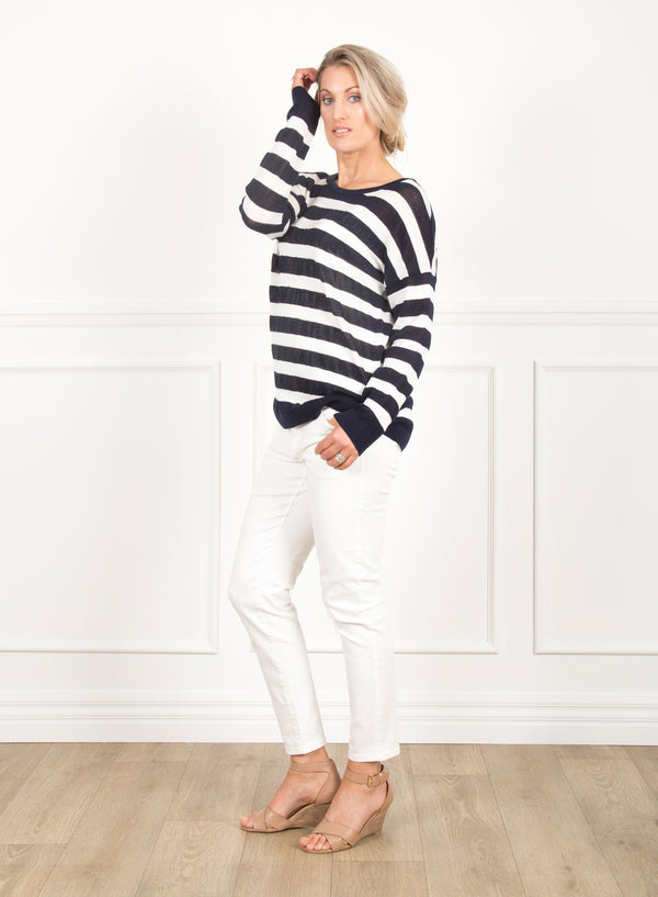 Sage Drop Shoulder Top - Navy and White Stripe