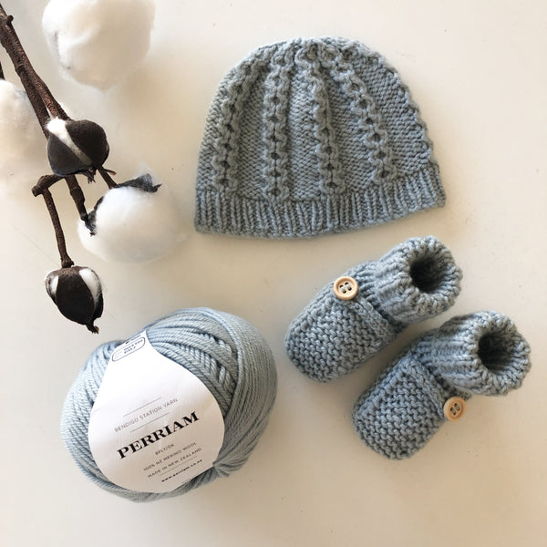Cable Hat & Matching Booties Pattern