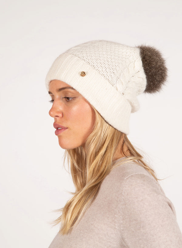 Possum Pom Pom Cable Beanie - Natural