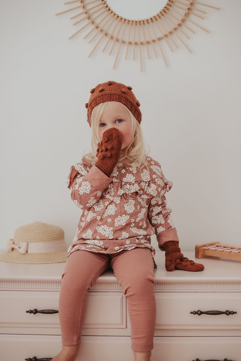 Popcorn Mittens and Beanie Knitting Pattern (Ages 1-10 Years) - Digital PDF