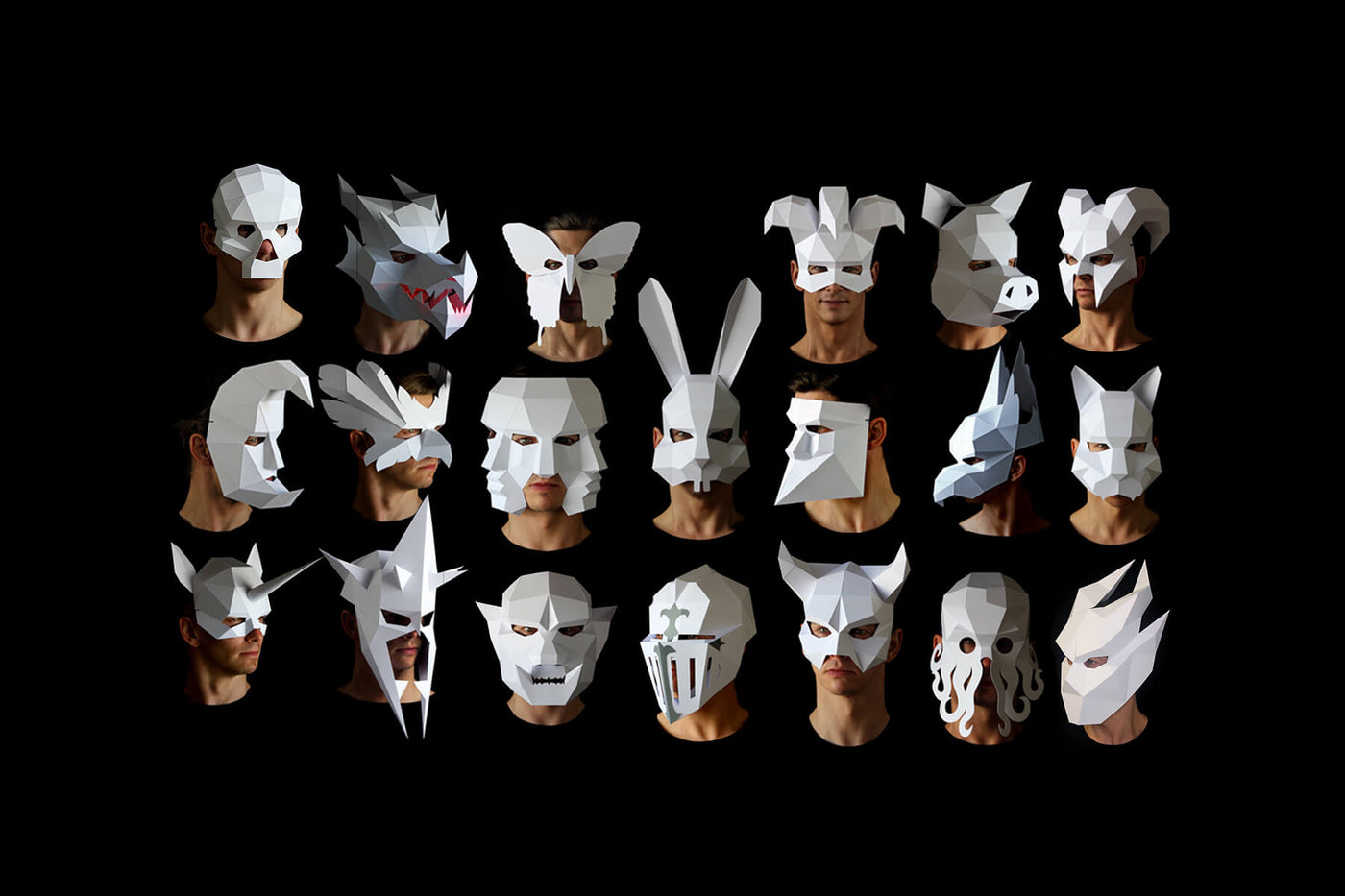 Papercraft Masks Templates to make your own DIY paper face masks. Designed by paper artist Kostas Ntanos, animal masks templates for making low-poly papercraft masks. Download DIY geometric papercraft mask templates for Halloween.