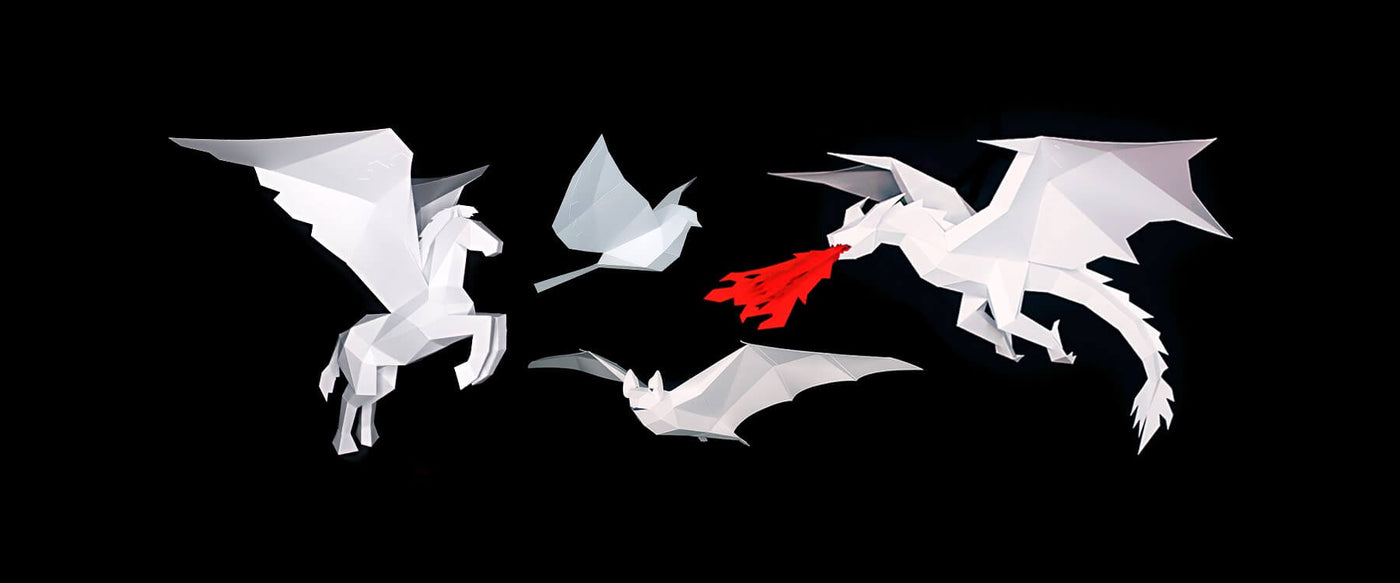 3D low-poly papercraft sculptures of dragon, bat, bird and Pegasus horse. Designed by Kostas Ntanos. Made by you. Download the template and make your own DIY paper sculptures. Beautiful 3D papercraft designs made by you.