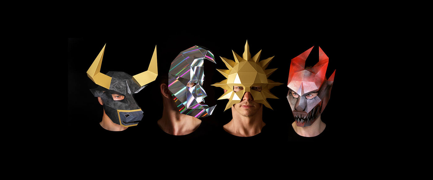 Papercraft Mask Templates designed by paper artist Kostas Ntanos. Animal paper masks. Make your own geometric paper masks by designer Kostas Ntanos. Download DIY papercraft mask templates. Halloween paper masks to make yourself.
