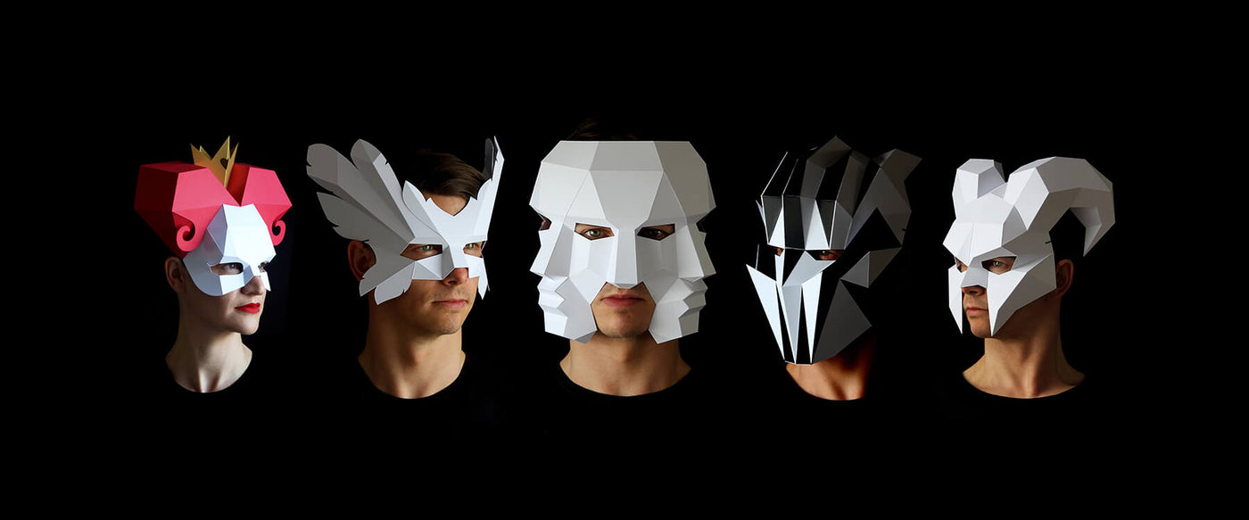 Papercraft Mask Templates designed by paper artist Kostas Ntanos. Queen of Hearts, Three Face Mask, Demon mask. Make your own geometric paper masks by designer Kostas Ntanos. Download DIY papercraft mask templates. Halloween paper masks to make yourself.