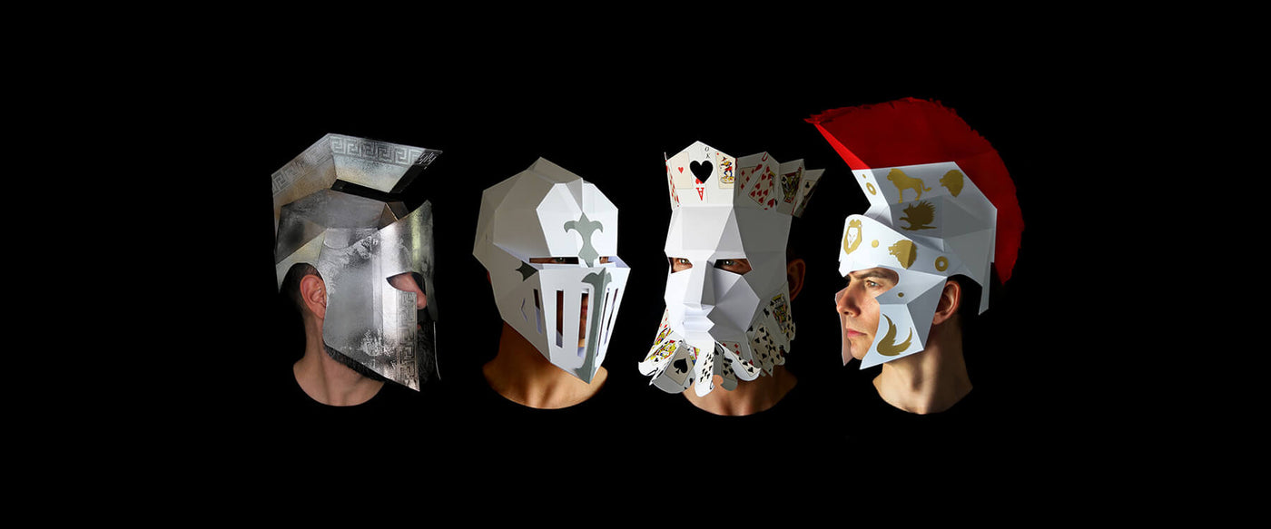 Papercraft Mask Templates designed by paper artist Kostas Ntanos. Knight and Spartan paperboard helmet. Make your own geometric paper masks by designer Kostas Ntanos. Download DIY papercraft mask templates. Halloween paper masks to make yourself.