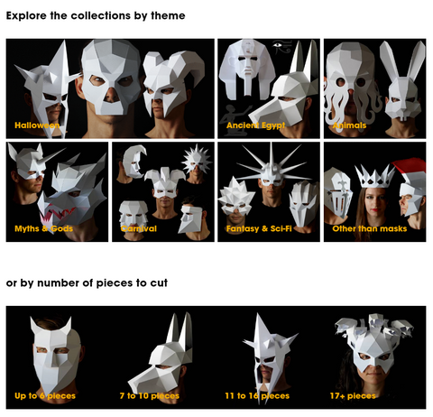 Papercraft Halloween mask paper masks animal mask polygonal Ntanos