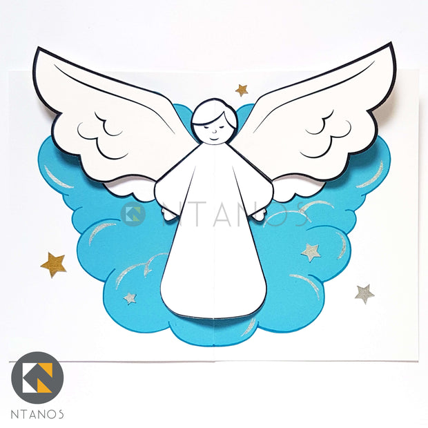DIY Christmas angel pop-up card by Ntanos