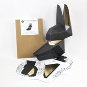Pre-cut low poly papercraft mask kit of ancient Egyptian god Anubis by Ntanos