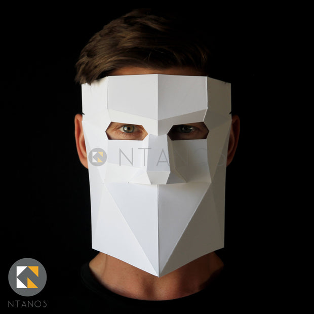 Geometric low poly Venetian papercraft mask Bauta by Ntanos