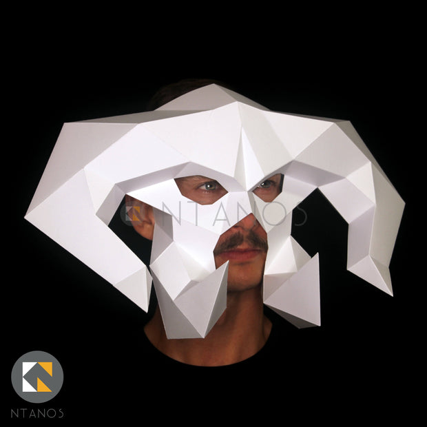 Low-poly Papercraft Mask Template, Halloween Demon paper Mask