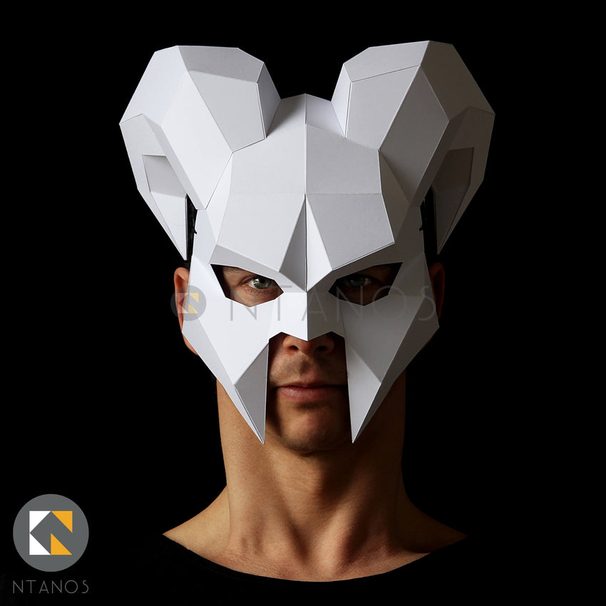 Geometric low poly papercraft Halloween ram horned demon mask by Ntanos