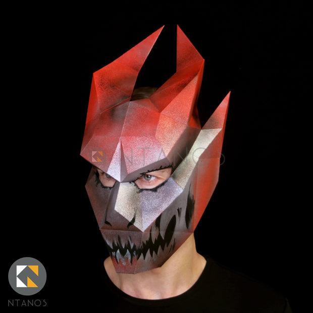 Halloween Ifrit papercraft demon mask template by Ntanos