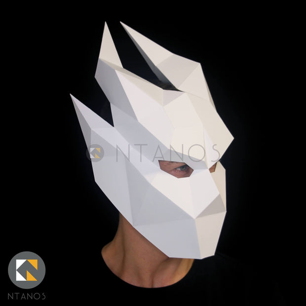 Halloween Ifrit demon low-poly paper mask template by Ntanos