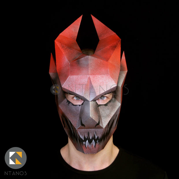 Halloween Ifrit djinn papercraft mask template by Ntanos
