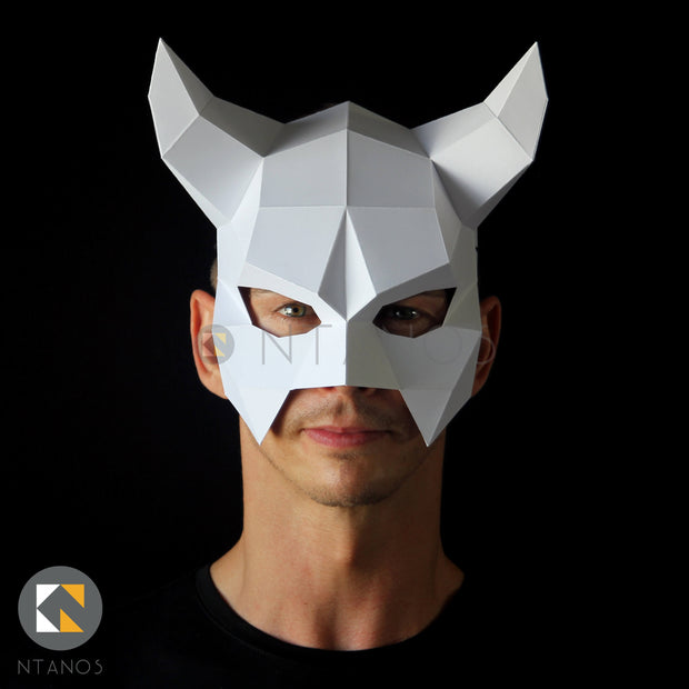 Geometric low poly papercraft Halloween horned devil mask by Ntanos