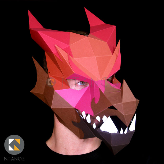 3D paper Dragon Halloween mask Ntanos papercraft