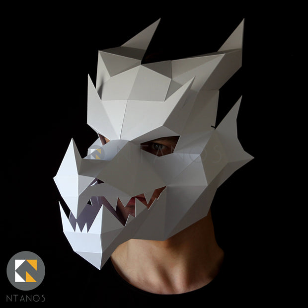 Geometric low poly papercraft Halloween dragon mask by Ntanos