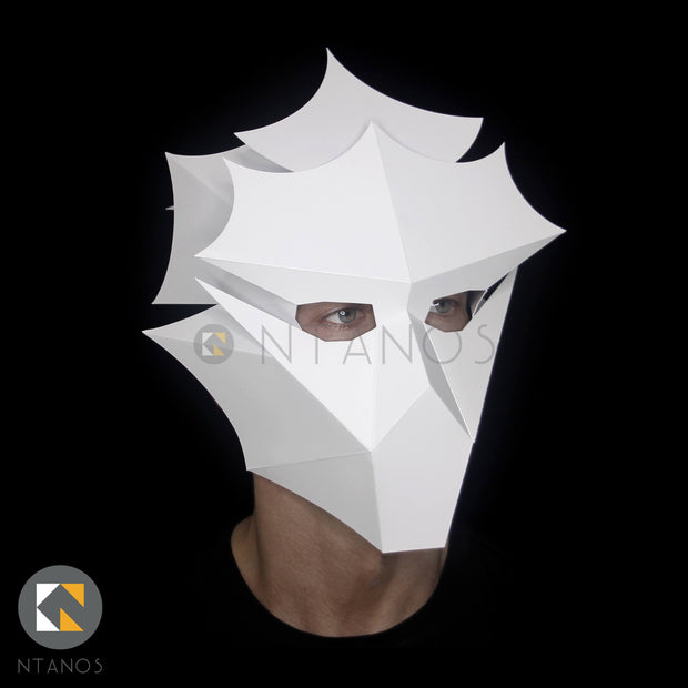 Geometric low-poly papercraft mask template by Ntanos