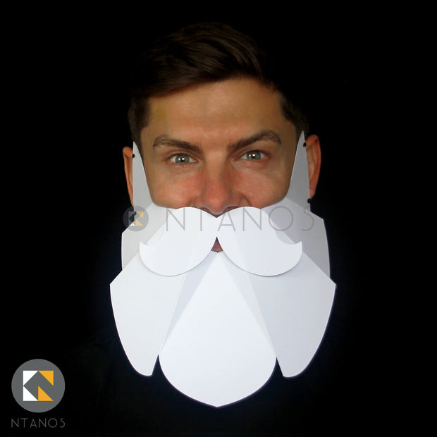 Geometric low poly easy to make paper beard by Papercraft Ntanos