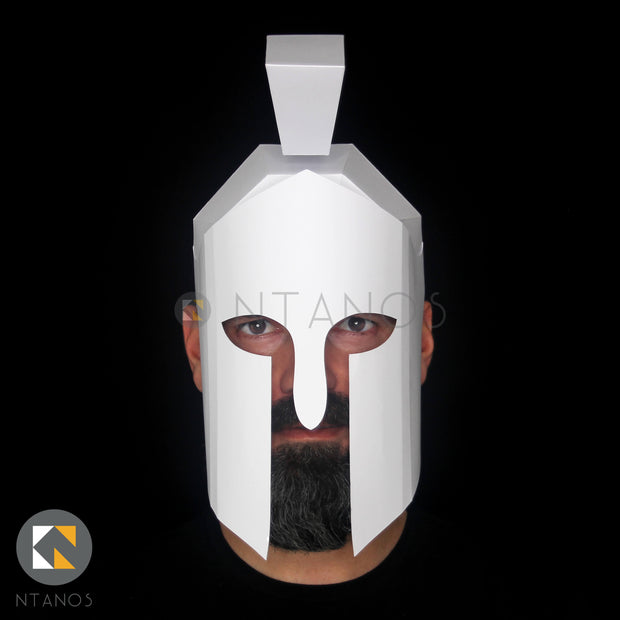 Ancient Greek Spartan Warrior Helmet Papercraft template for school history day by Ntanos
