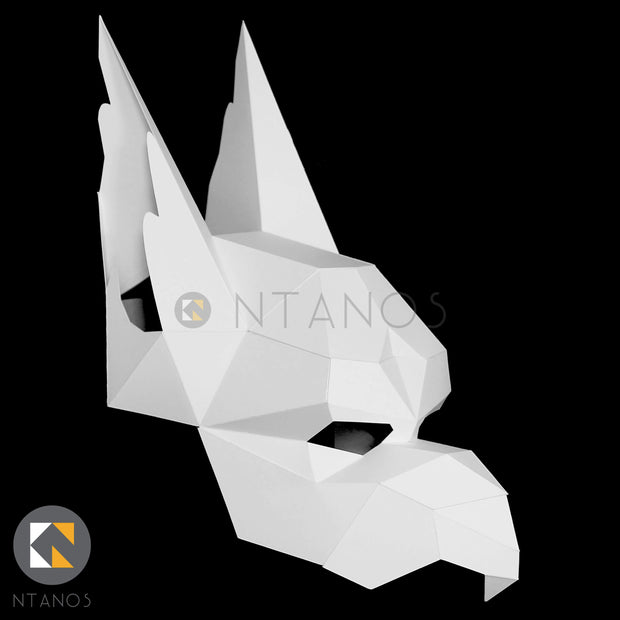 Geometric low poly papercraft Griffin mask by Ntanos