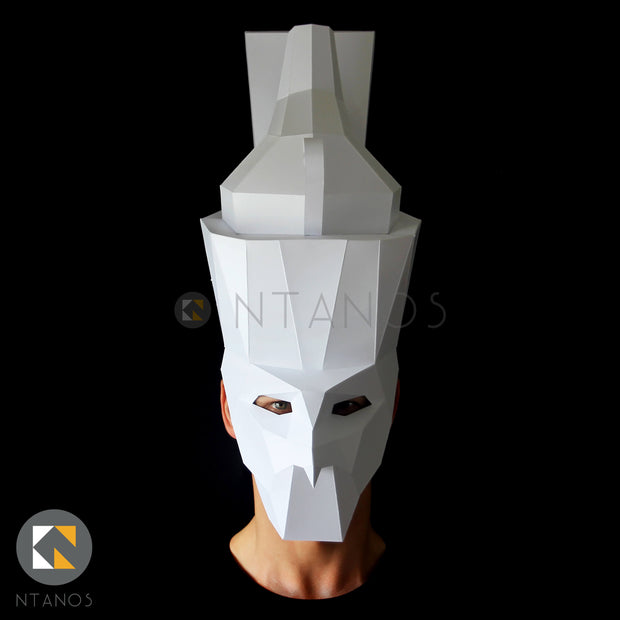 Geometric low poly papercraft mask of ancient Egyptian god Horus by Ntanos