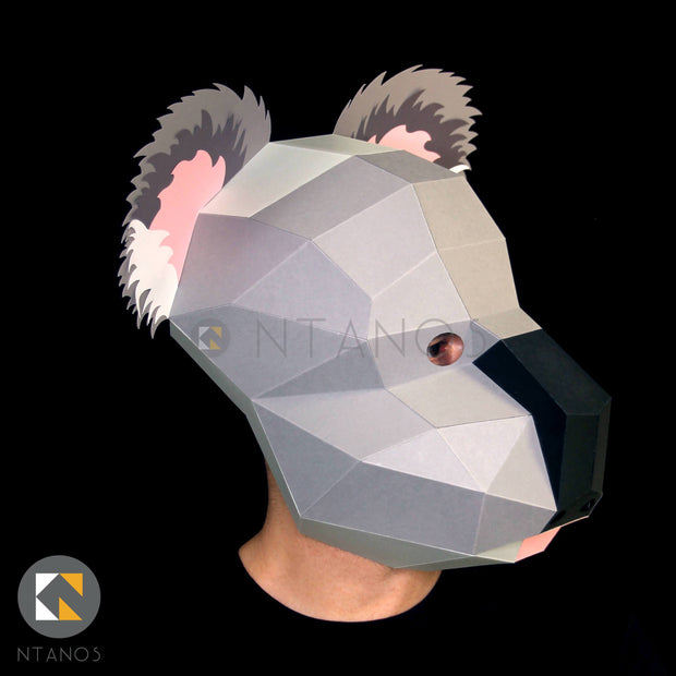 Koala animal mask papercraft mask templates low poly mask Ntanos