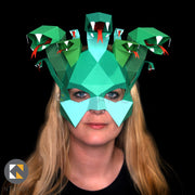 Geometric low poly papercraft Medusa Halloween paper mask by Ntanos